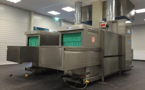 Essen Germany temporary dishwashing area